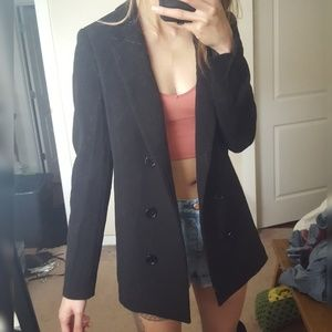 double breasted look oversized boxy long blazer